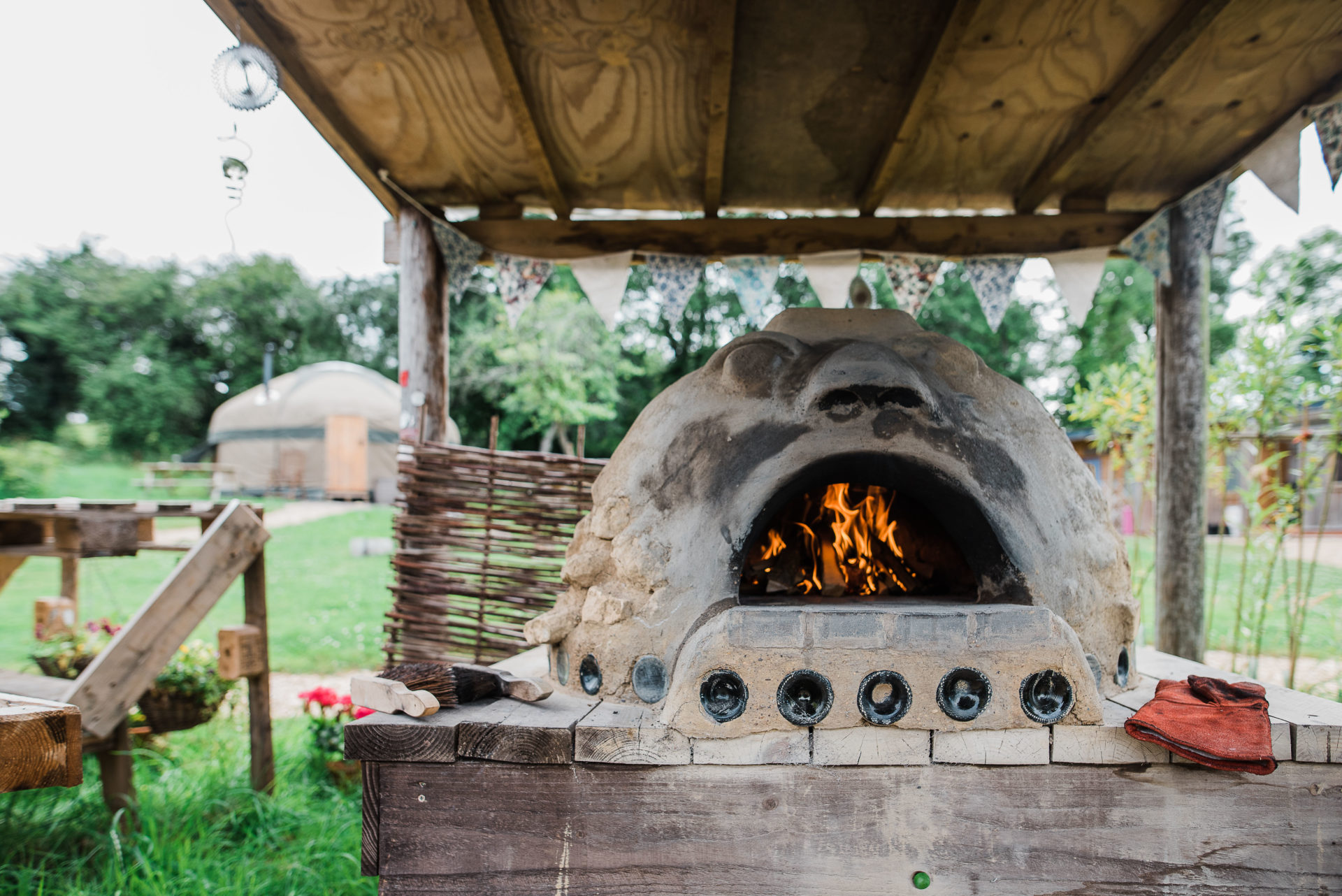 Cob Pizza oven on the glamping site