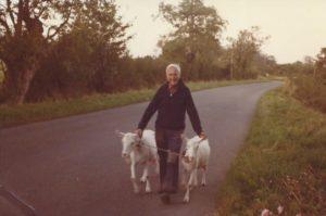 Grandad walking the goats along Kingcombe Lane
