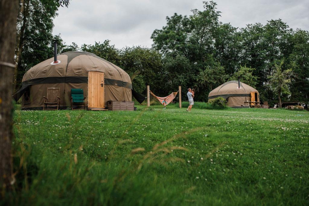 Two yurts and hammocks