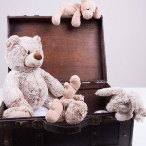 Suitcase with teddies in