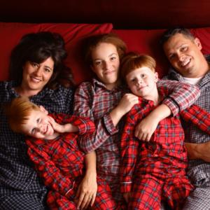 family in warm pajamas
