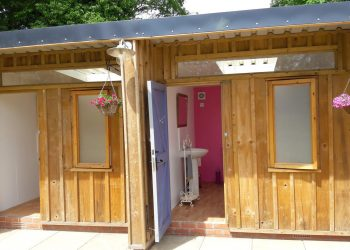The bathroom block just metres away from the yurts