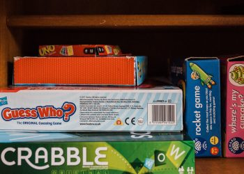 A cupboard full of games and activities