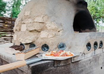 The pizza oven on the yurt glamping aite